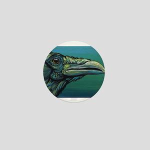 Rainbow Raven Crow Bird WildlifeArt Mini Button