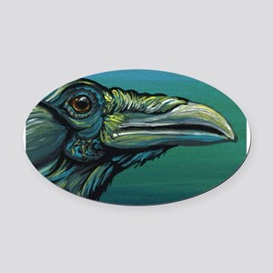 Rainbow Raven Crow Bird WildlifeArt Oval Car Magne