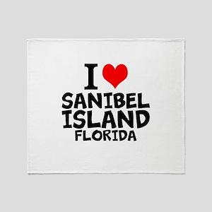 I Love Sanibel Island, Florida Throw Blanket