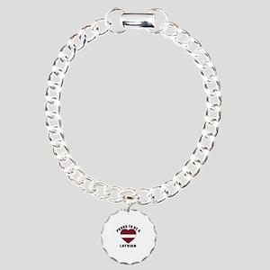 Latvian Patriotic Design Charm Bracelet, One Charm