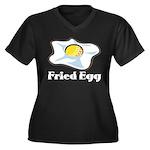 Fried Egg Women's Plus Size V-Neck Dark T-Shirt
