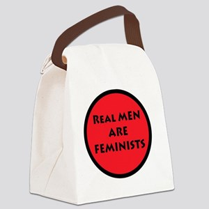 Real Men Are Feminists RED Canvas Lunch Bag