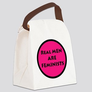 Real Men Are Feminists PINK Canvas Lunch Bag