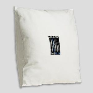 I Back The Blue Burlap Throw Pillow