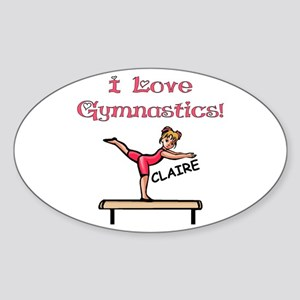 I Love Gymnastics (Claire) Oval Sticker