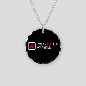 Red Ribbon: Red for my Frien Necklace Circle Charm
