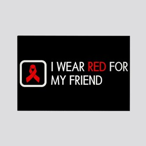 Red Ribbon: Red for my Friend Rectangle Magnet
