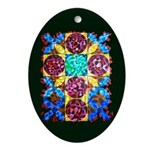 Jeweled Cross Oval Ornament