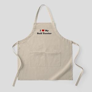 I Love My Bull Terrier BBQ Apron