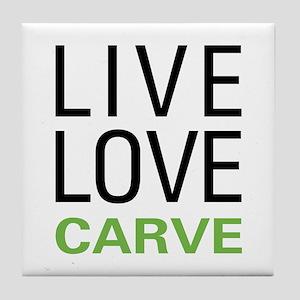 Live Love Carve Tile Coaster