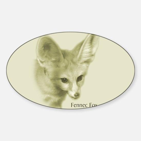 Antiqued Fennec Fox Oval Decal