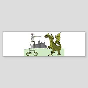 Knight Riding A Tall Bike Slaying A Bumper Sticker