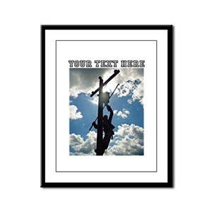 Personizable Rusty the Lineman Framed Panel Print