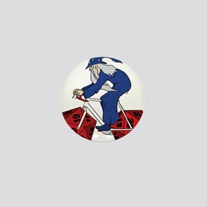 Wizard Riding Bike With 20 Sided Dice Mini Button