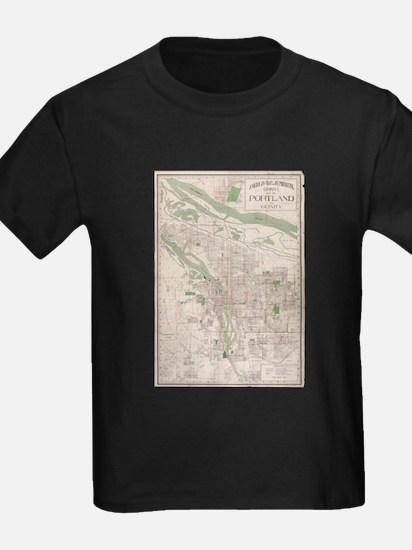 Vintage Map of Portland Oregon (1912) T-Shirt