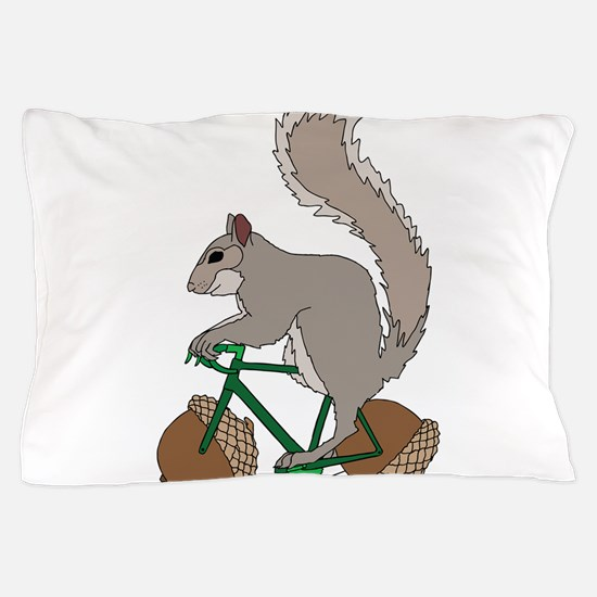 Squirrel On Bike With Acorn Wheels Pillow Case