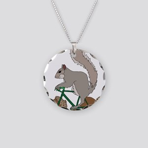 Squirrel On Bike With Acorn Necklace Circle Charm