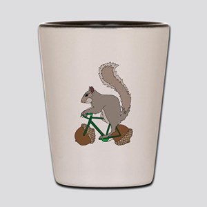 Squirrel On Bike With Acorn Wheels Shot Glass