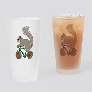 Squirrel On Bike With Acorn Wheels Drinking Glass