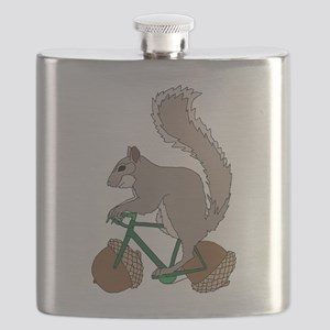 Squirrel On Bike With Acorn Wheels Flask
