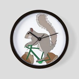Squirrel On Bike With Acorn Wheels Wall Clock