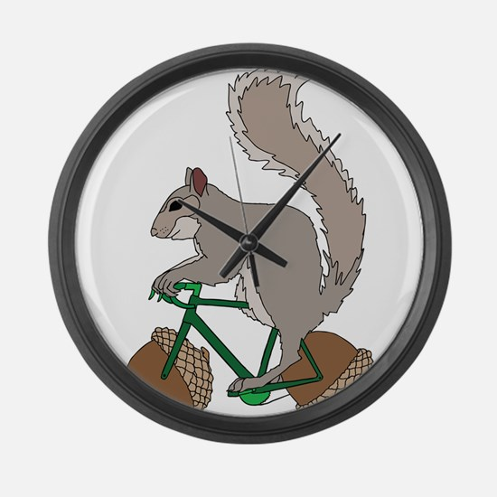 Squirrel On Bike With Acorn Wheel Large Wall Clock