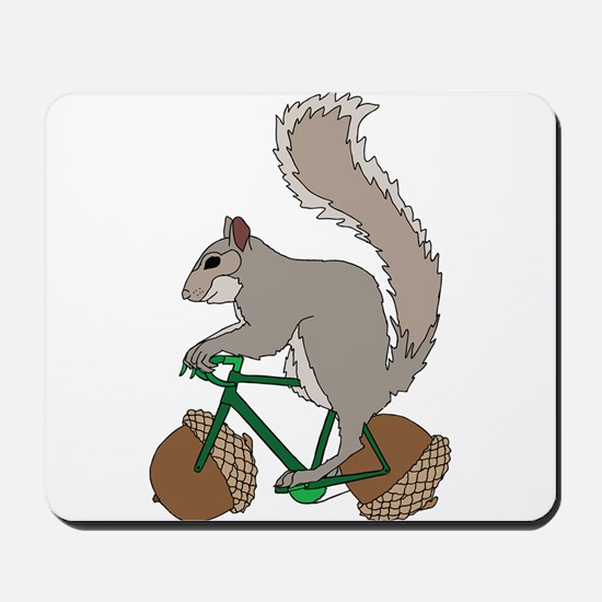 Squirrel On Bike With Acorn Wheels Mousepad