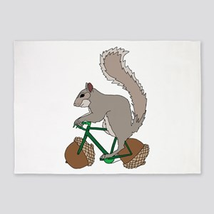Squirrel On Bike With Acorn Wheels 5'x7'Area Rug