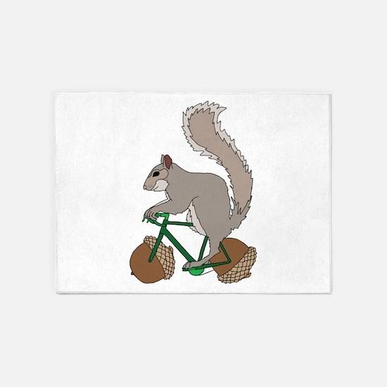 Squirrel On Bike With Acorn Wheels 5'x7'Area Rug