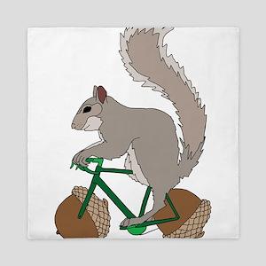 Squirrel On Bike With Acorn Wheels Queen Duvet