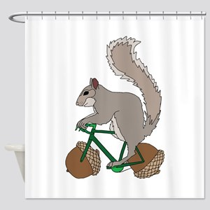 Squirrel On Bike With Acorn Wheels Shower Curtain