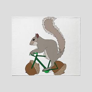 Squirrel On Bike With Acorn Wheels Throw Blanket