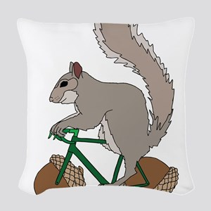 Squirrel On Bike With Acorn Wh Woven Throw Pillow