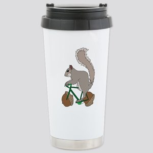Squirrel On Bike With A Stainless Steel Travel Mug