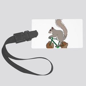 Squirrel On Bike With Acorn Whee Large Luggage Tag