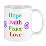 Hope Faith Peace Love (white bg) Mugs