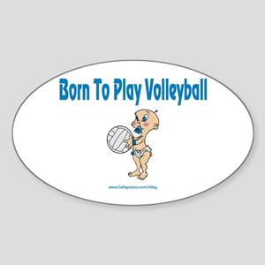 Born 4 Volleyball Oval Sticker