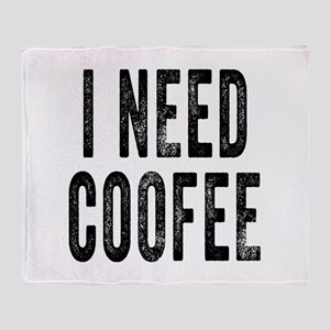 I NEED COFFEE Throw Blanket