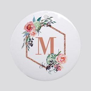 Chic Floral Wreath Monogram Round Ornament