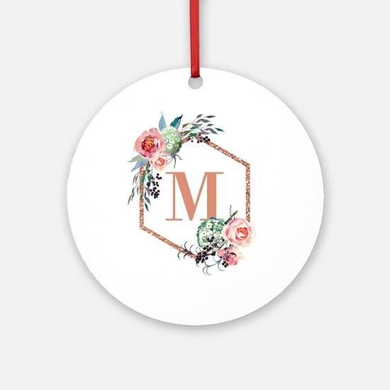 Chic Floral Wreath Monogram Round Ornament