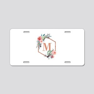 Chic Floral Wreath Monogram Aluminum License Plate