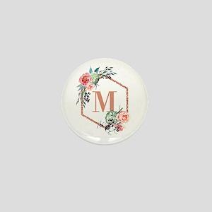 Chic Floral Wreath Monogram Mini Button (10 pack)