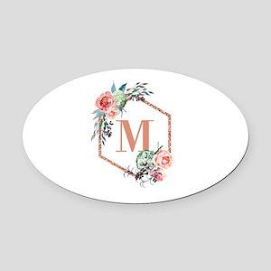 Chic Floral Wreath Monogram Oval Car Magnet