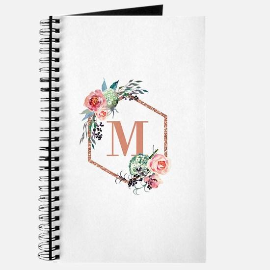 Chic Floral Wreath Monogram Journal