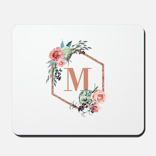 Chic Floral Wreath Monogram Mousepad
