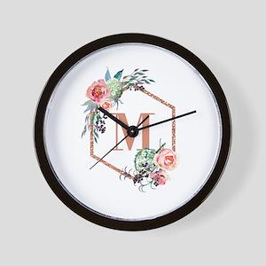 Chic Floral Wreath Monogram Wall Clock