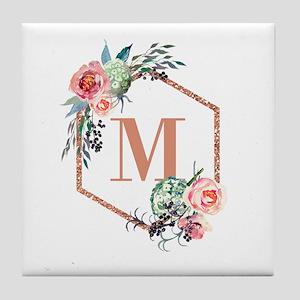 Chic Floral Wreath Monogram Tile Coaster