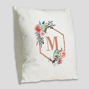 Chic Floral Wreath Monogram Burlap Throw Pillow