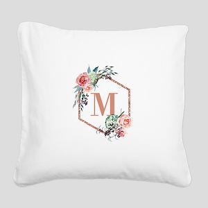 Chic Floral Wreath Monogram Square Canvas Pillow