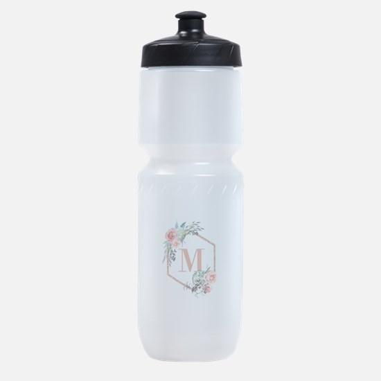 Chic Floral Wreath Monogram Sports Bottle